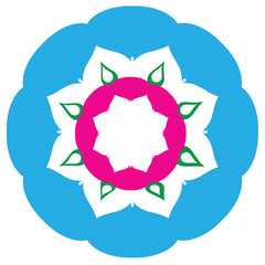 pink and blue mandala ornament,isolated