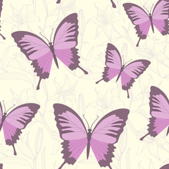Colorful purple butterflies vector seamless background