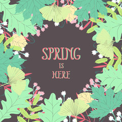 Spring floral vector background. Beautiful frame in fresh colors