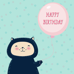 Funny cat with balloon.Birthday greeting card