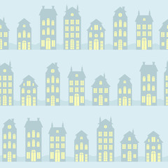 Amsterdam houses silhouettes seamless pattern