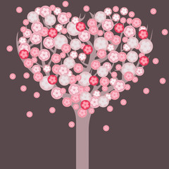 Heart shaped blossom tree. Romantic valentine card