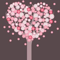 Heart shaped blossom tree. Romantic valentine card