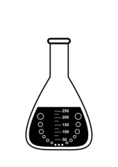 Conical graduated chemical flask with a solution