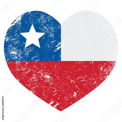 Chile retro heart shaped flag