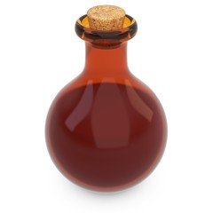 3d amber potion flask