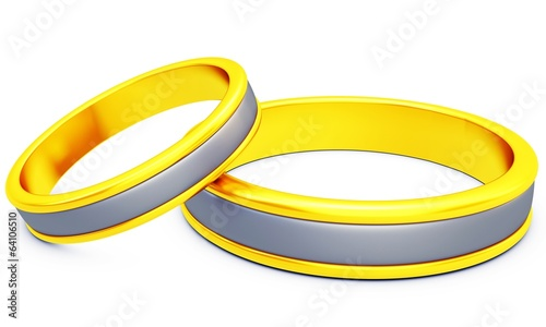3d pair of golden wedding rings