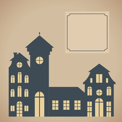 European cityscape. Card template with houses silhouettes