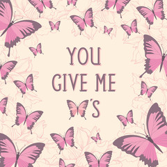 Romantic quote card with butterflies