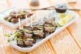 Fototapety Kushiyaki - Japanese grilled belly pork and spring onions