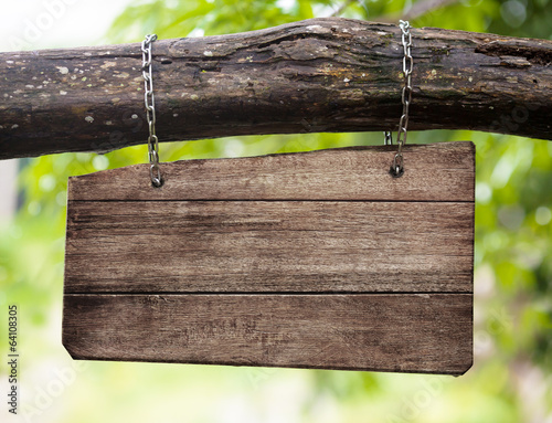 canvas print picture blank wooden sign board hanging on branch