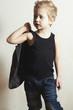 fashionable little boy.stylish fashion children.handsome boy