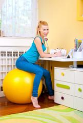 teen girl study in her room