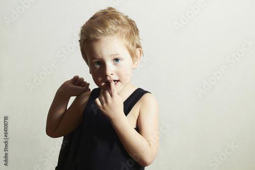 fashionable little boy.fashion children.handsome blond kid