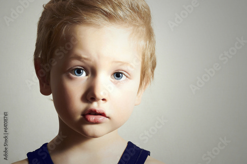 Child. Funny Little Boy. Handsome Boy with Blue Eyes