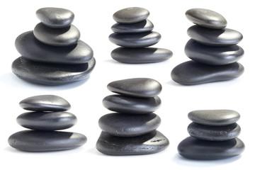Wet smooth polished hot massage black stones