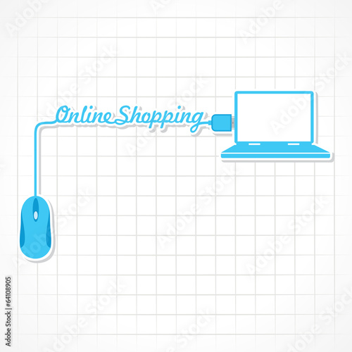 Online shopping Concept with mouse and laptop stock vector