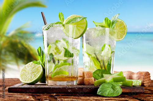 Fresh mojito cocktail on wood
