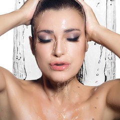 Young Sensuality Woman Showering. Spa Treatment. Wet Make-up
