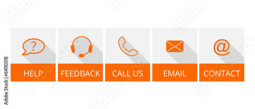 collection of orange contact buttons with long shadow
