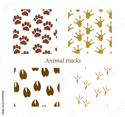 Animal tracks seamless patterns, vector