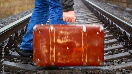 Suitcase on the railway