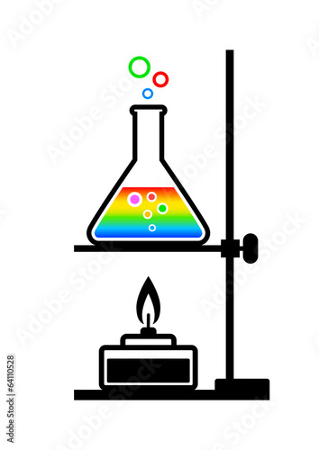 Laboratory equipment on white background