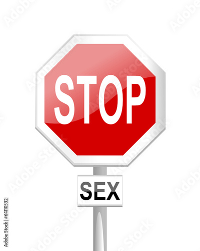 Red stop sign with a table sex - vector
