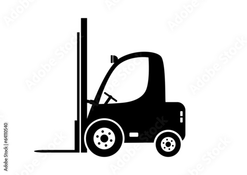 Forklift truck on white background