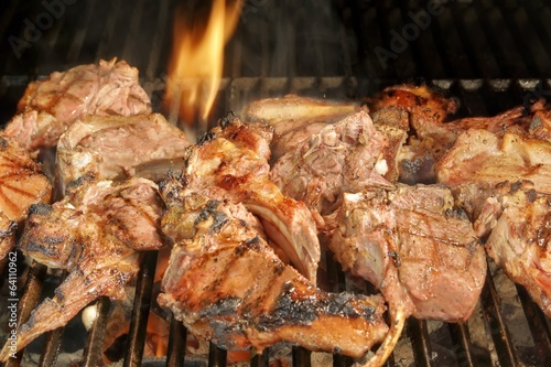 Roasted lamb chops on BBQ Grill, XXXL