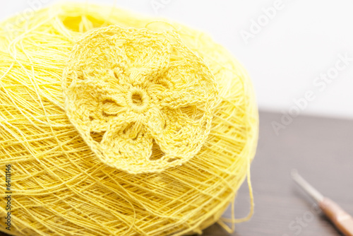 skein of yarn and piece crocheted