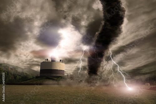 Tornado with lightning over a meteo station