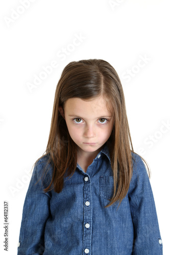 young girl portrait frustrated pouting frowning