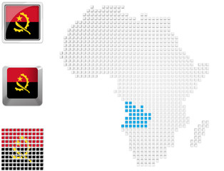 Angola on map of Africa