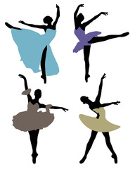 Silhouettes of ballerinas, vector