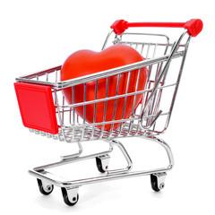 heart in a shopping cart