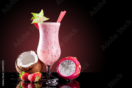 Exotic summer cocktail with fruit