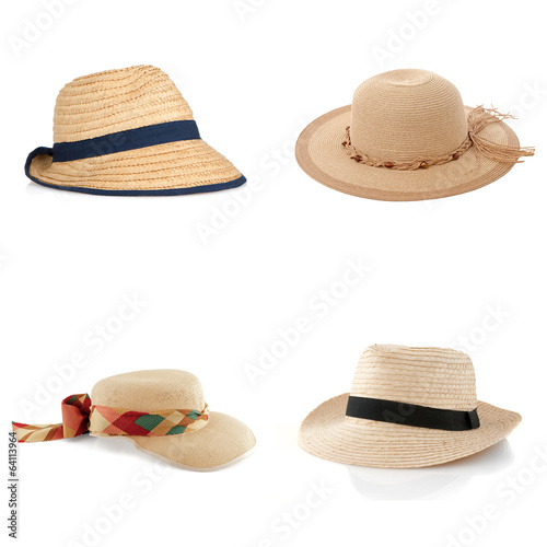 Set of four straw hats