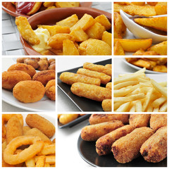 fried food collage
