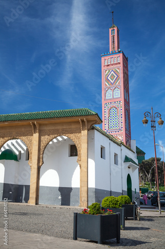 Old colorful mosque in Tangier town, Morocco