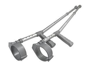 Crutches pair isolated