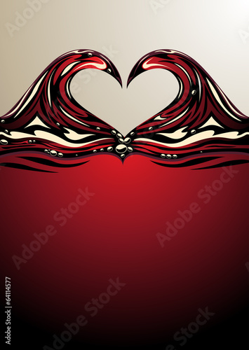 Heart shaped waves on red wine