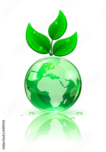 Earth with green leaves