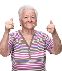 Old woman showing ok sign