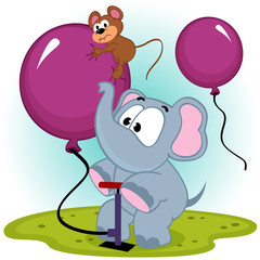 elephant inflating balloon with mouse - vector illustration