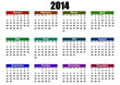 simple editable vector calendar 2014 mondays firts