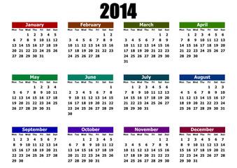 simple editable vector calendar 2014 mondays firts