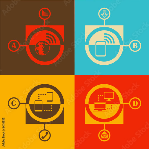 Flat design vector illustration technology and communication