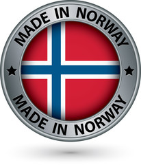 Made in Norway silver label with flag, vector illustration