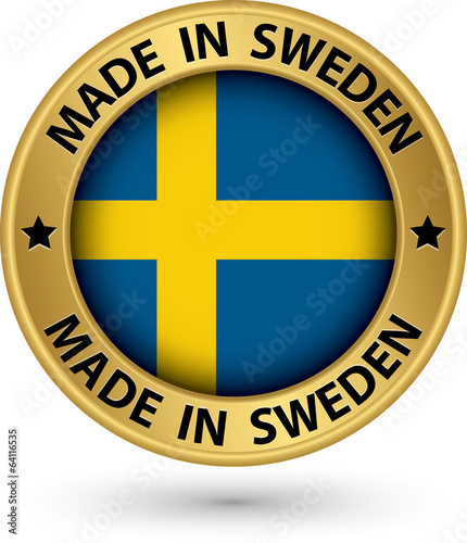 Made in Sweden gold label with flag, vector illustration